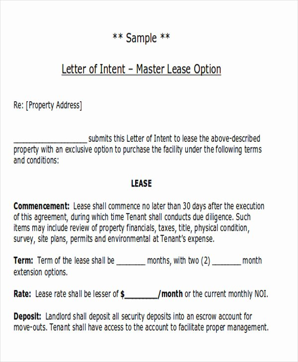 Rent Letter Of Intent Awesome 14 Sample Lease Proposal Letters Pdf Pages