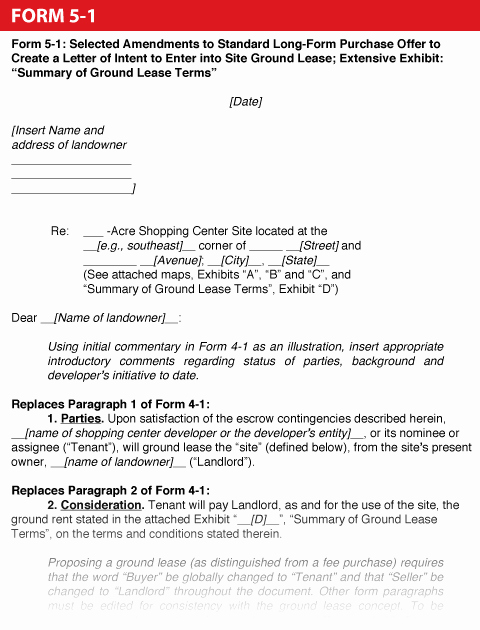 Rent Letter Of Intent Awesome Shopping Center Dealmaker S Handbook —form 5 1 Selected