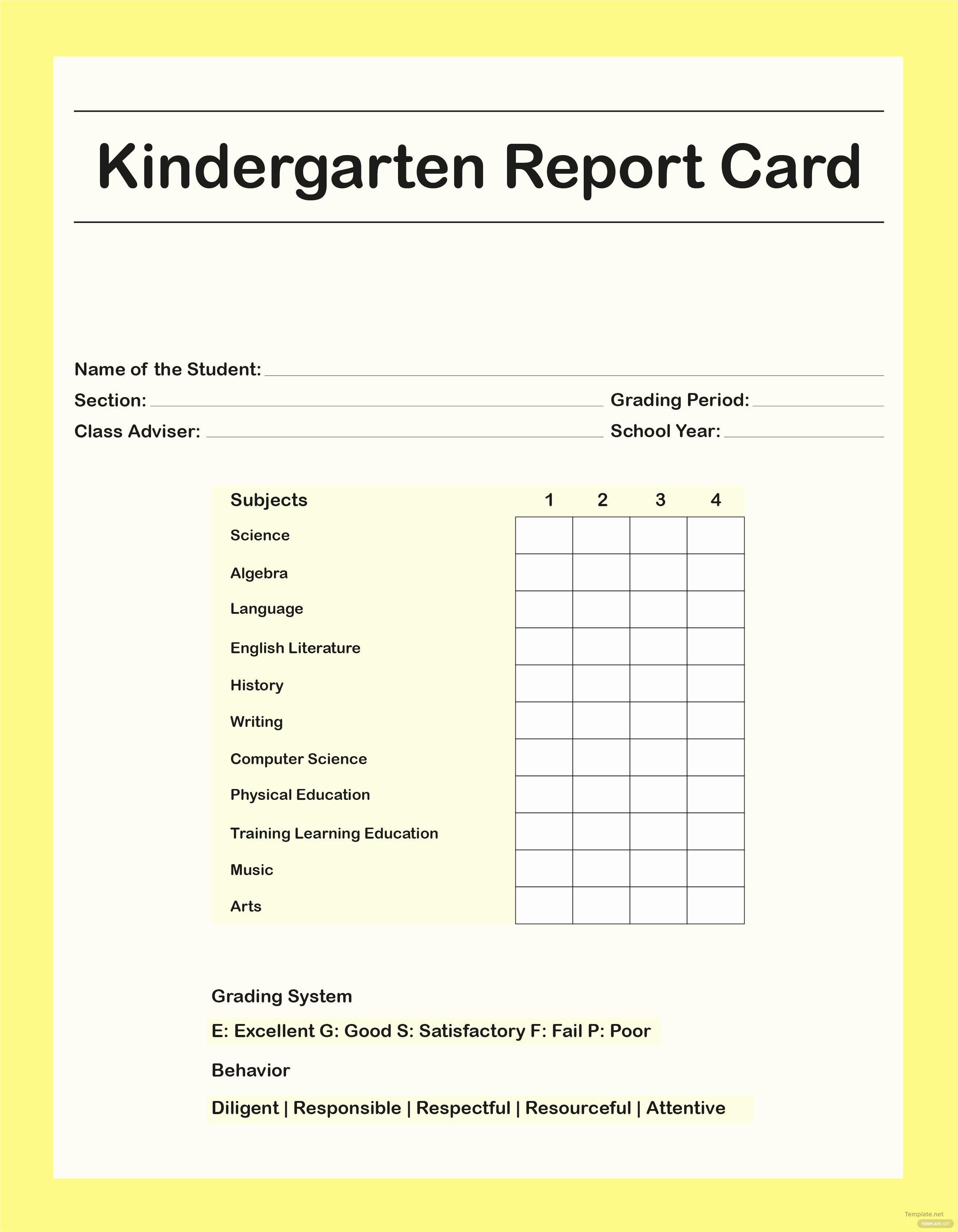 Report Card Templates Free Fresh Free Kindergarten Report Card Template In Adobe Shop