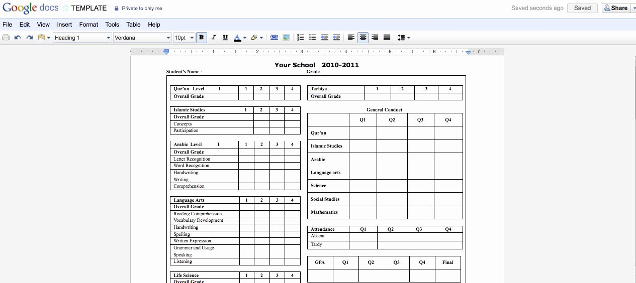 Report Card Templates Free New Collaborative Report Cards Using Google Docs