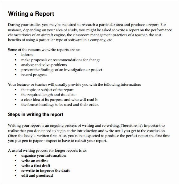 Report Writing Template Awesome 30 Sample Report Writing format Templates Pdf
