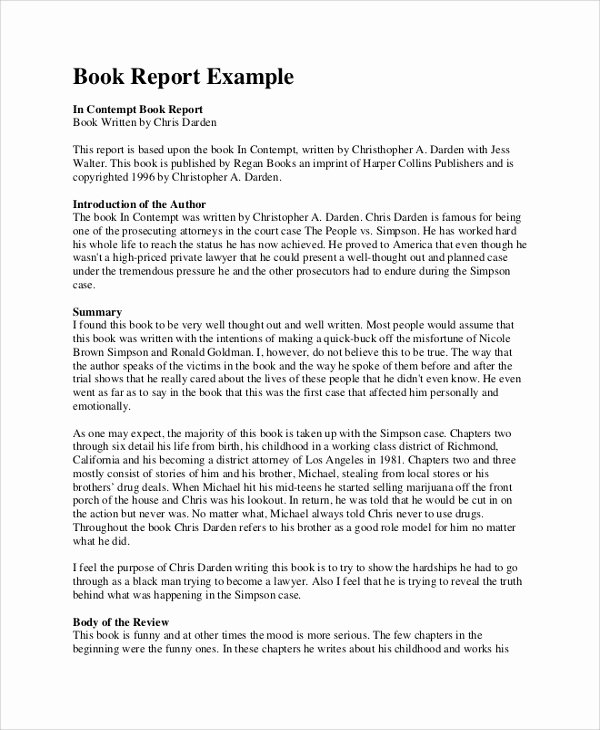 Report Writing Template Beautiful Sample Book Report 10 Documents In Pdf Word