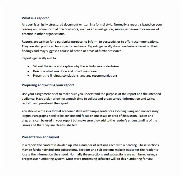 Report Writing Template Inspirational Sample Report Writing format