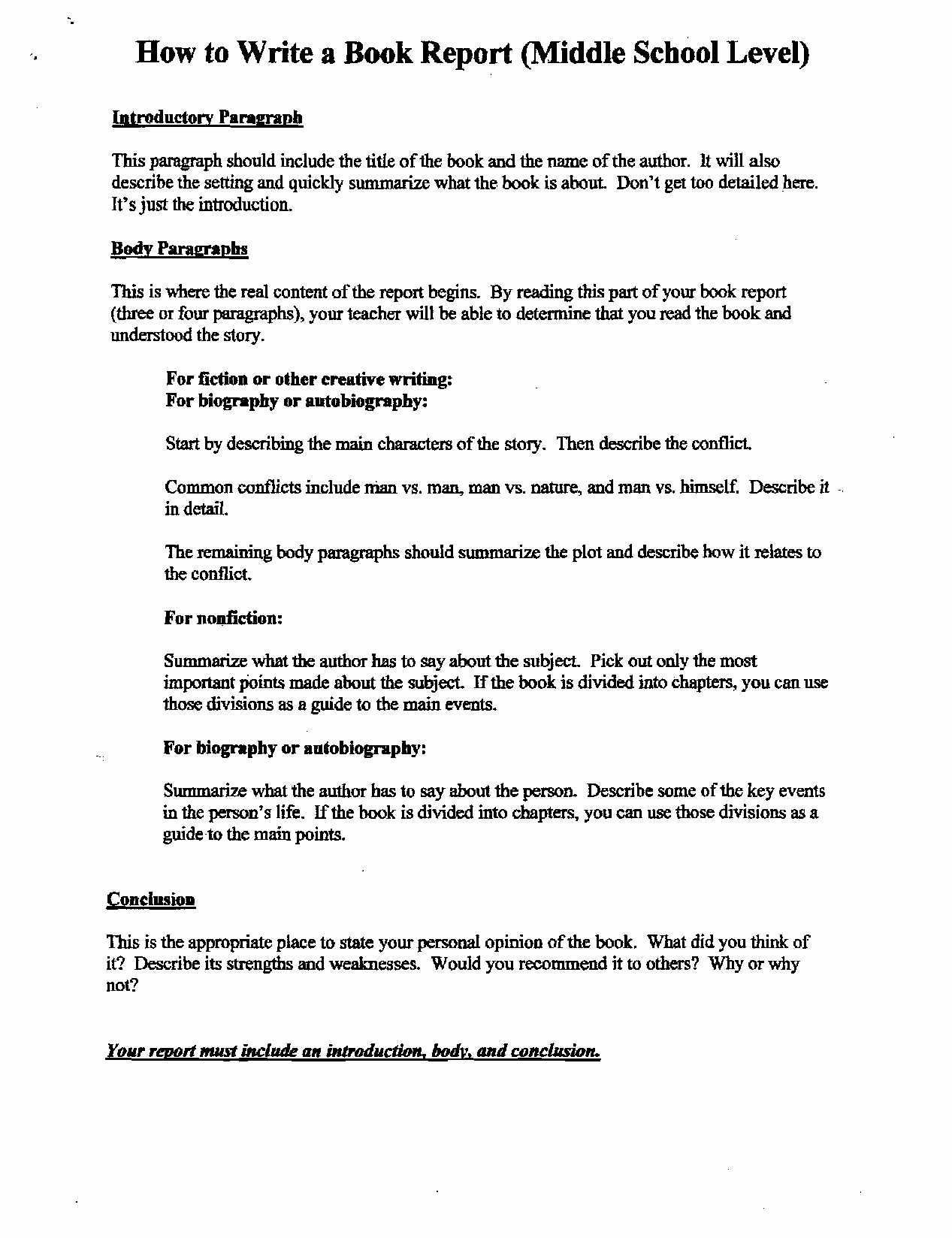 Report Writing Template Lovely How to Write A Book Report for High School the