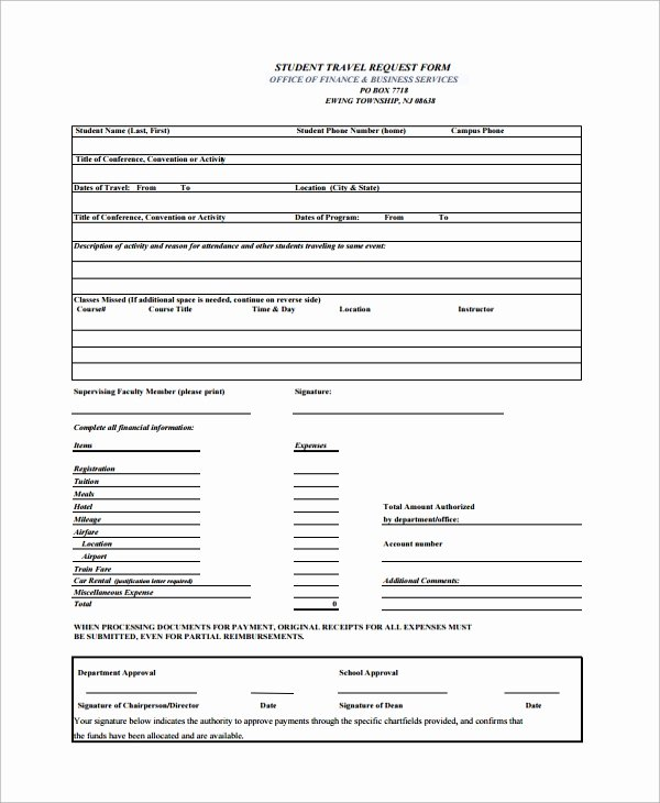 Request for Funds form Template Luxury Sample Travel Request form 9 Free Documents Download In