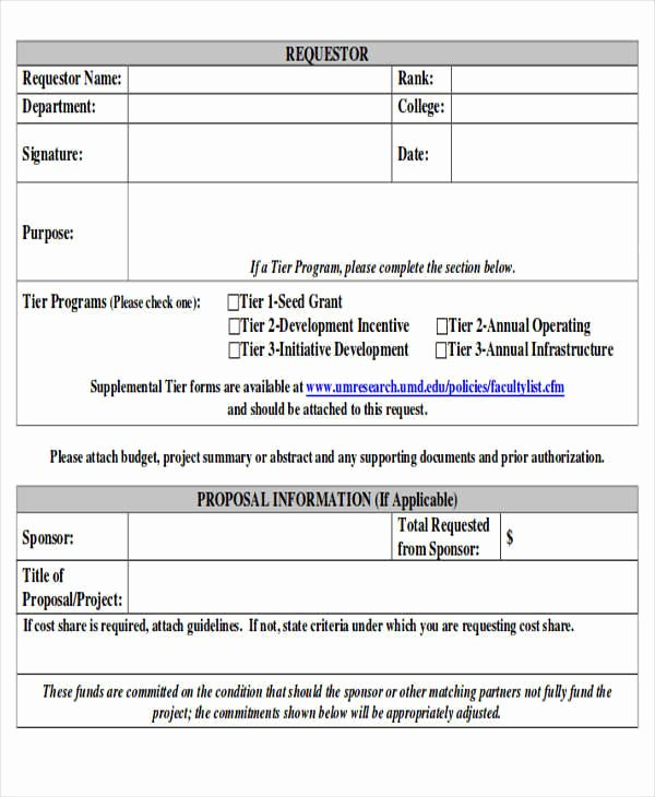 Request for Funds form Template New Sample Funding Request form 10 Examples In Word Pdf