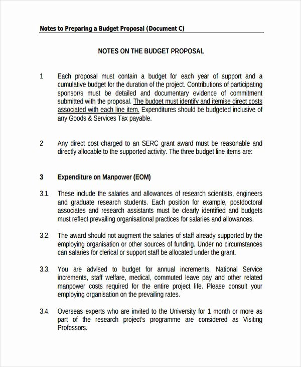 Research Proposal Budget Example Fresh 53 Proposal Templates and Examples Pdf Word Pages