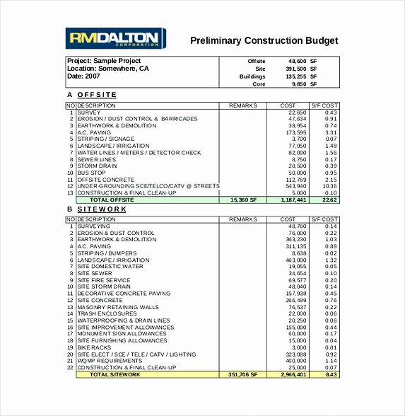Residential Construction Budget Template Excel Beautiful 13 Excel Bud Template Mac