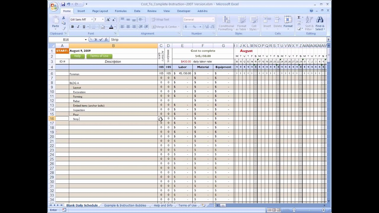 Residential Construction Budget Template Excel Unique Cost to Plete for Construction In Excel