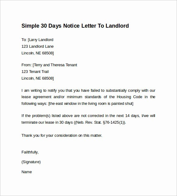 Resignation Letter 30 Days Notice Beautiful 10 Sample 30 Days Notice Letters to Landlord In Word