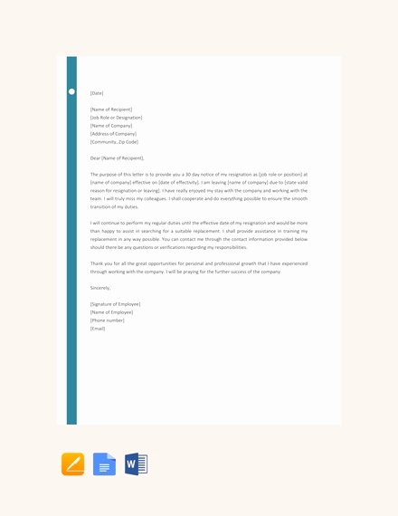 Resignation Letter 30 Days Notice Beautiful 6 Resignation Letter with 30 Day Notice Template Pdf
