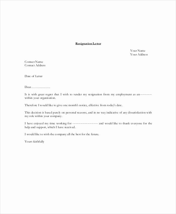 Resignation Letter 30 Days Notice Best Of 6 Resignation Letter with 30 Day Notice Template Pdf