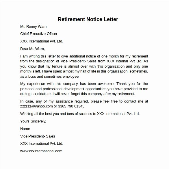 Resignation Letter 30 Days Notice Elegant Sample 30 Days Notice Letter 7 Free Documents In Word Pdf