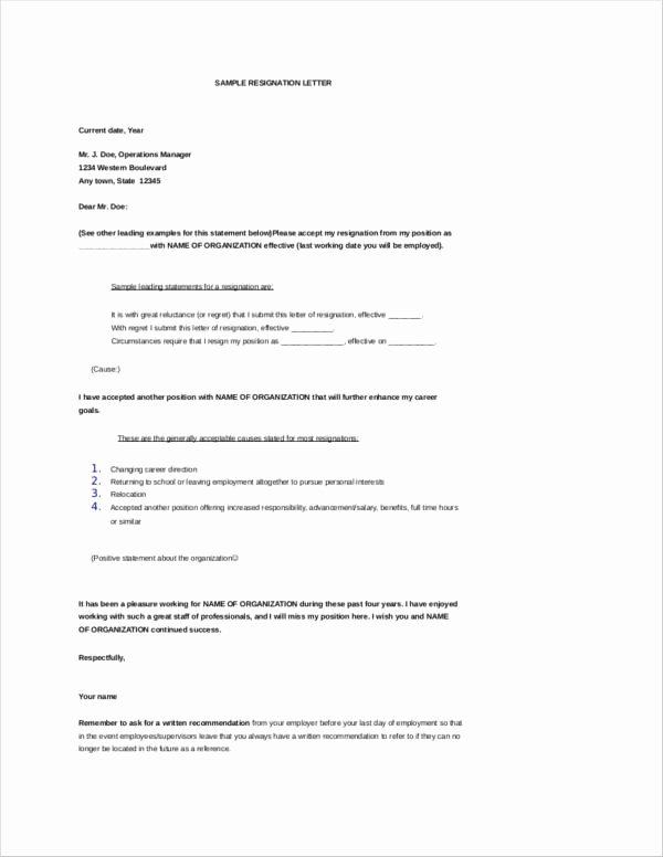 Resignation Letter 30 Days Notice Lovely 33 Printable Resignation Letter Samples & Templates