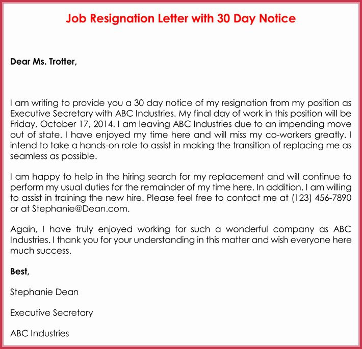 Resignation Letter 30 Days Notice Luxury 30 Day Notice Letter Templates 12 Samples In Word & Pdf
