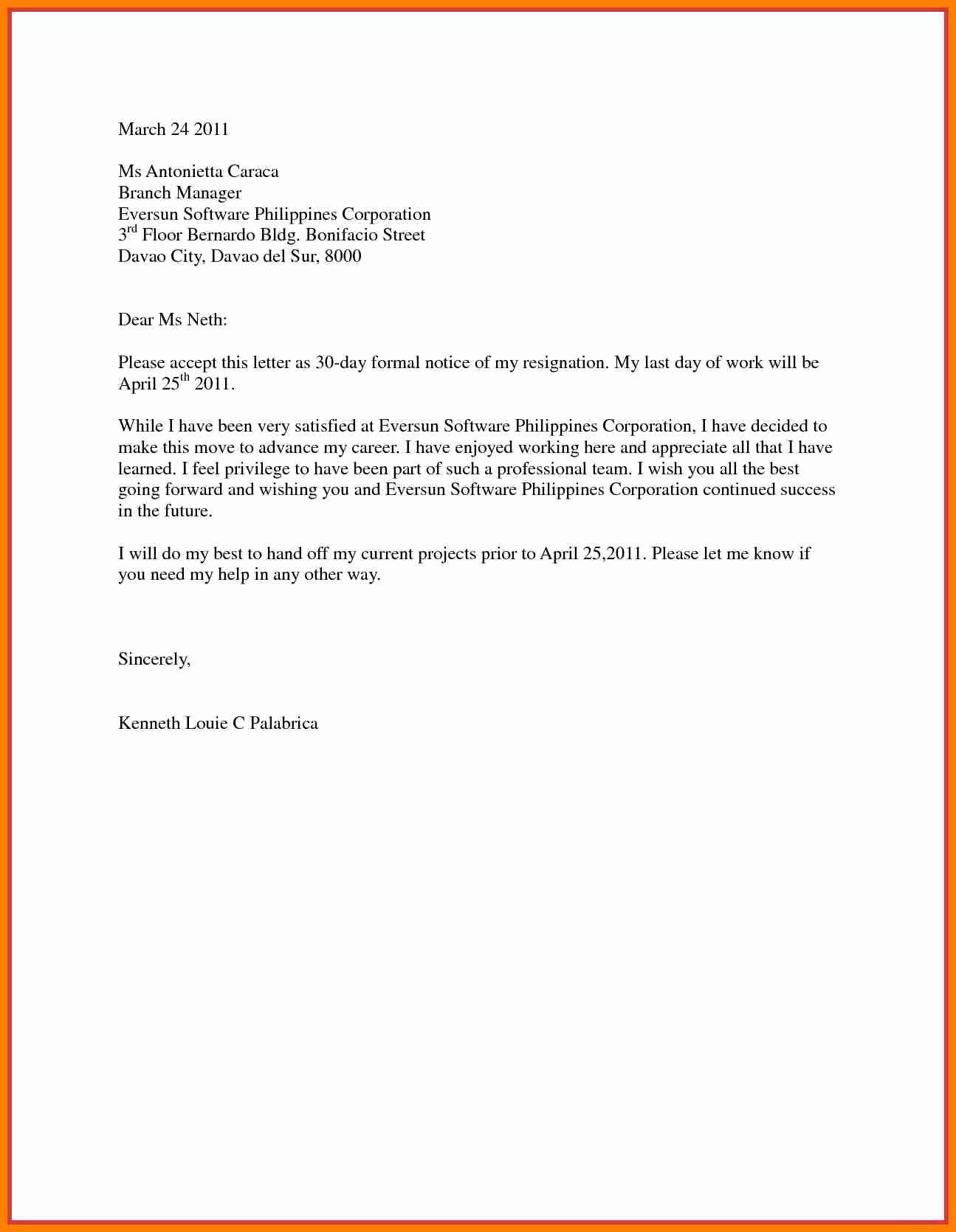 Resignation Letter 30 Days Notice Unique 9 Resignation Letter 30 Days Notice
