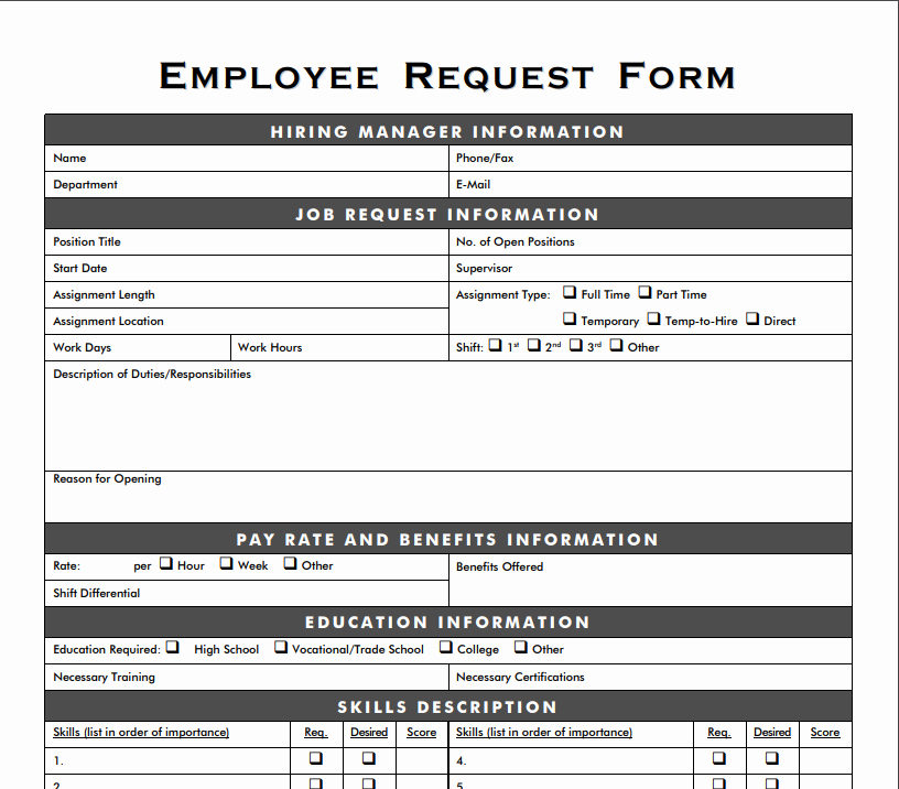 Resource Request form Awesome Staffing Resource Center tools