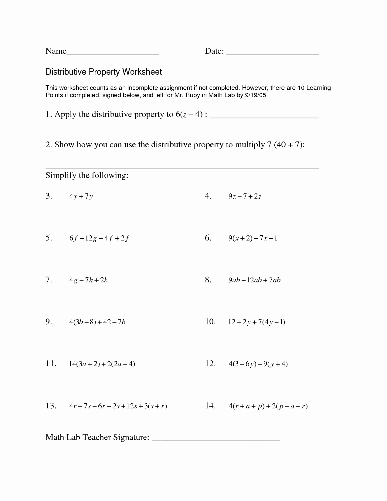 Respecting Others Property Worksheet Beautiful 16 Best Of Distributive Property with Expressions