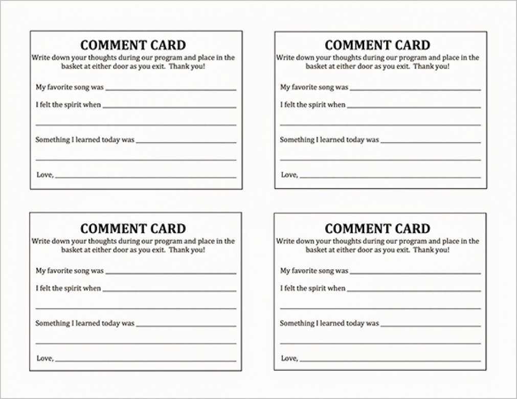 Restaurant Comment Cards Template Awesome Ment Card Template Beepmunk
