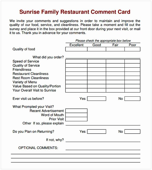 Restaurant Comment Cards Template Awesome Ment Card Template