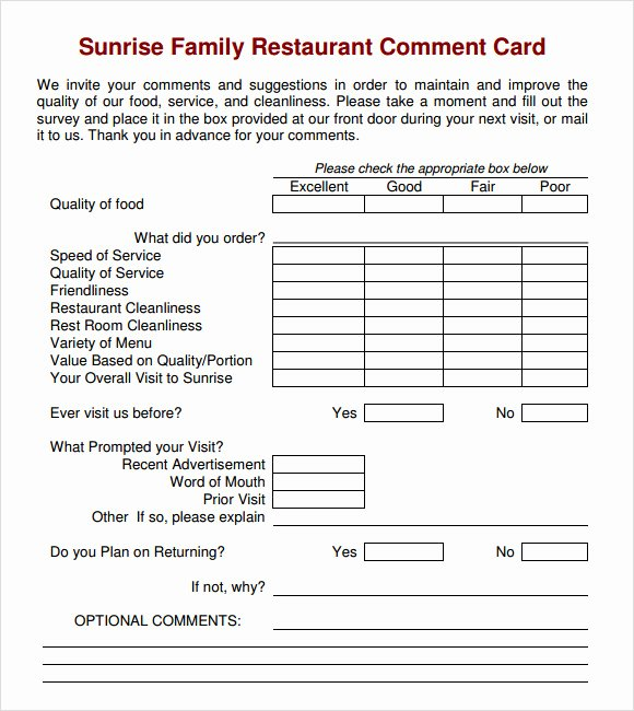 Restaurant Comment Cards Template Beautiful 11 Ment Cards Pdf Word Adobe Portable Documents