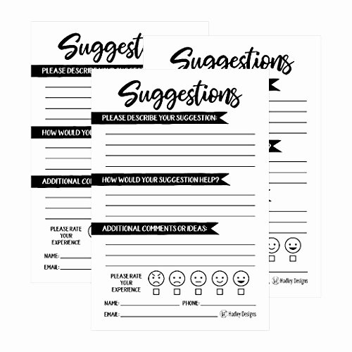 Restaurant Comment Cards Template Fresh 25 4x6 Feedback Ment Suggestion Card forms for Customer