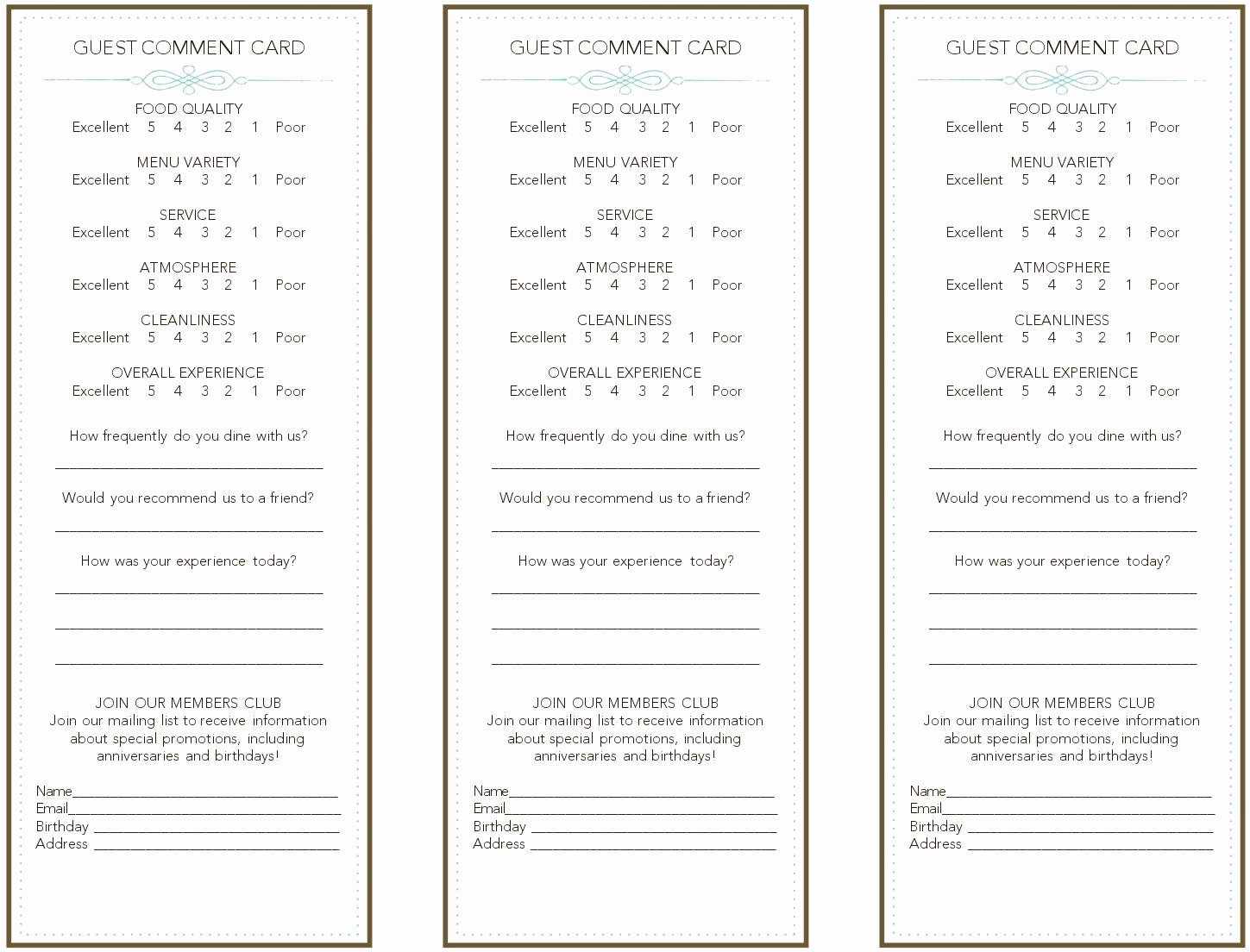 Restaurant Comment Cards Template Fresh French Restaurant Ment Card Frompo