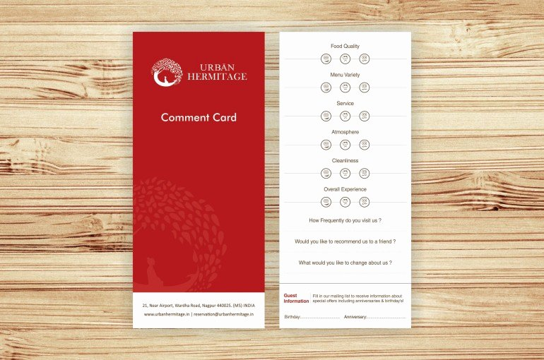 Restaurant Comment Cards Template Inspirational Urban Hermitage Brand Story
