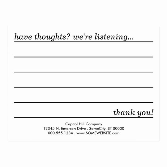 Restaurant Comment Cards Template Lovely Ment Card