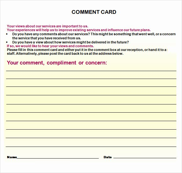 Restaurant Comment Cards Template New 11 Ment Cards Pdf Word Adobe Portable Documents