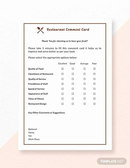 Restaurant Comment Cards Template Unique 11 Ment Cards Pdf Word Adobe Portable Documents