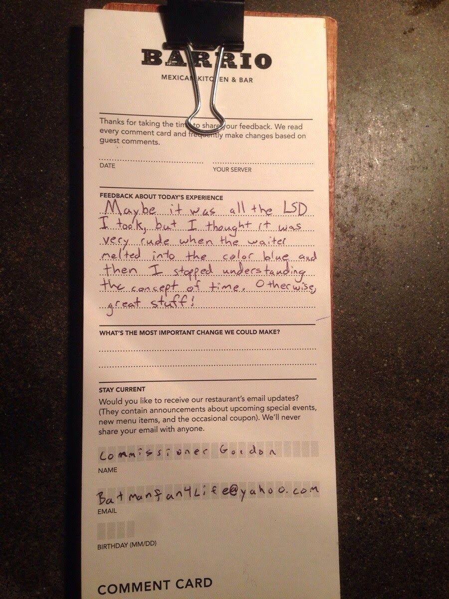 Restaurant Comment Cards Template Unique Awesome Ment Card Left by A Diner at A Restaurant In