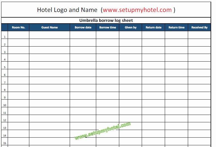 Restaurant Manager Log Book Template Fresh Concierge Umbrella Borrow Log Book Tracking Sheet format