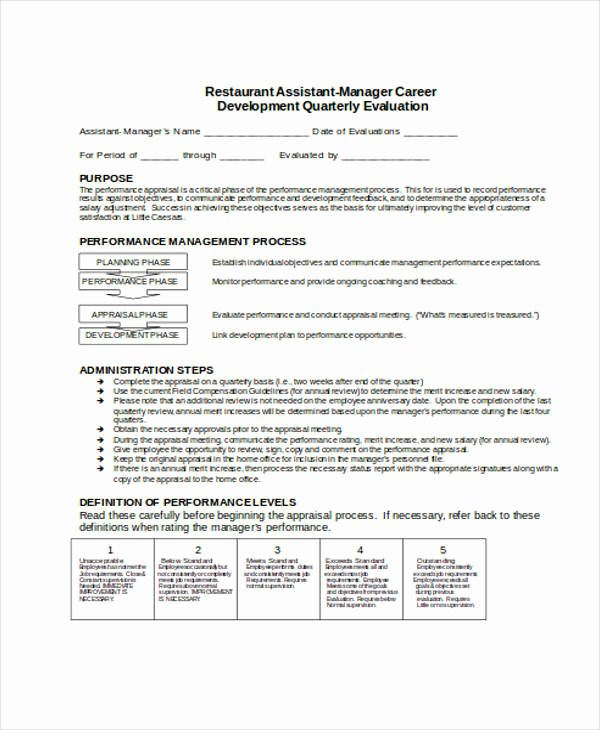 Restaurant Observation Report Sample Beautiful 29 Sample Employee Evaluation forms
