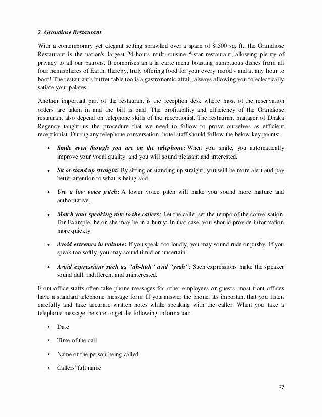 Restaurant Observation Report Sample Beautiful Internship Report On Dhaka Regency Hotel & Resort