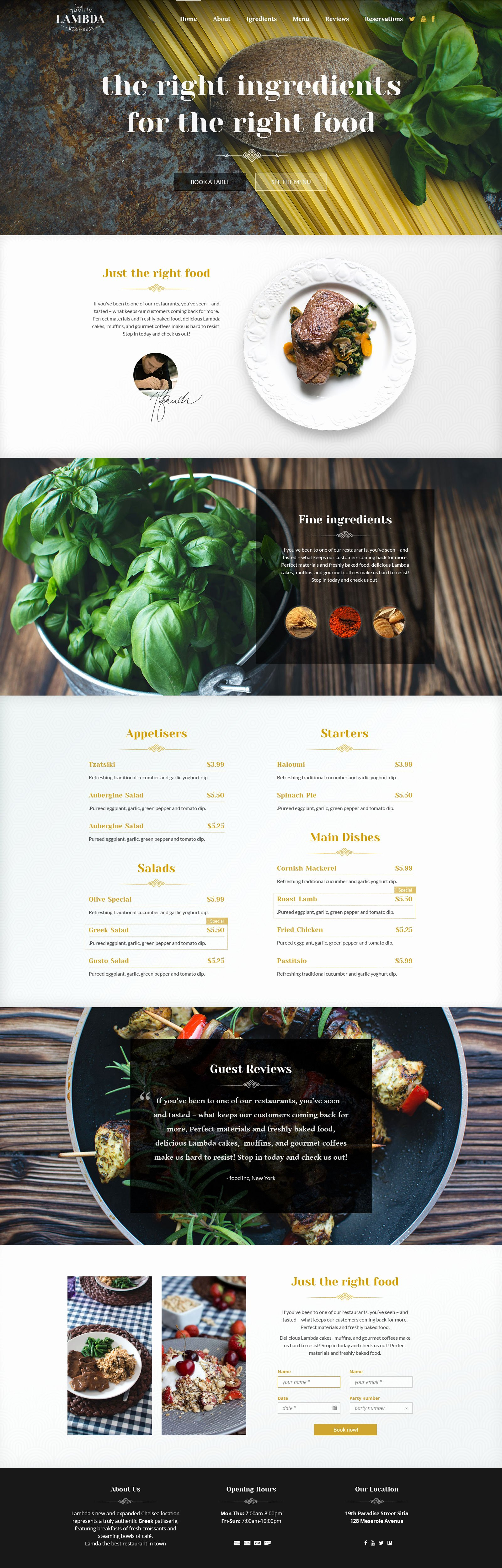 Restaurant Waiting List Template Fresh Free E Page Restaurant HTML Template