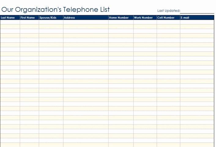 Restaurant Waiting List Template Inspirational Staff Contact List Template