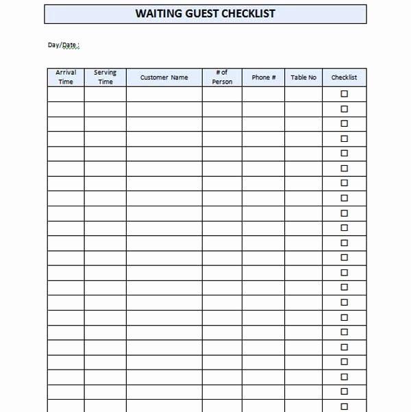 Restaurant Waiting List Template Unique Restaurant Waiting List Template Microsoft Word Templates