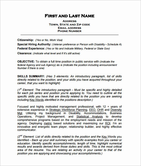 Resume In Paragraph form Elegant Federal Resume Template 8 Free Word Excel Pdf format