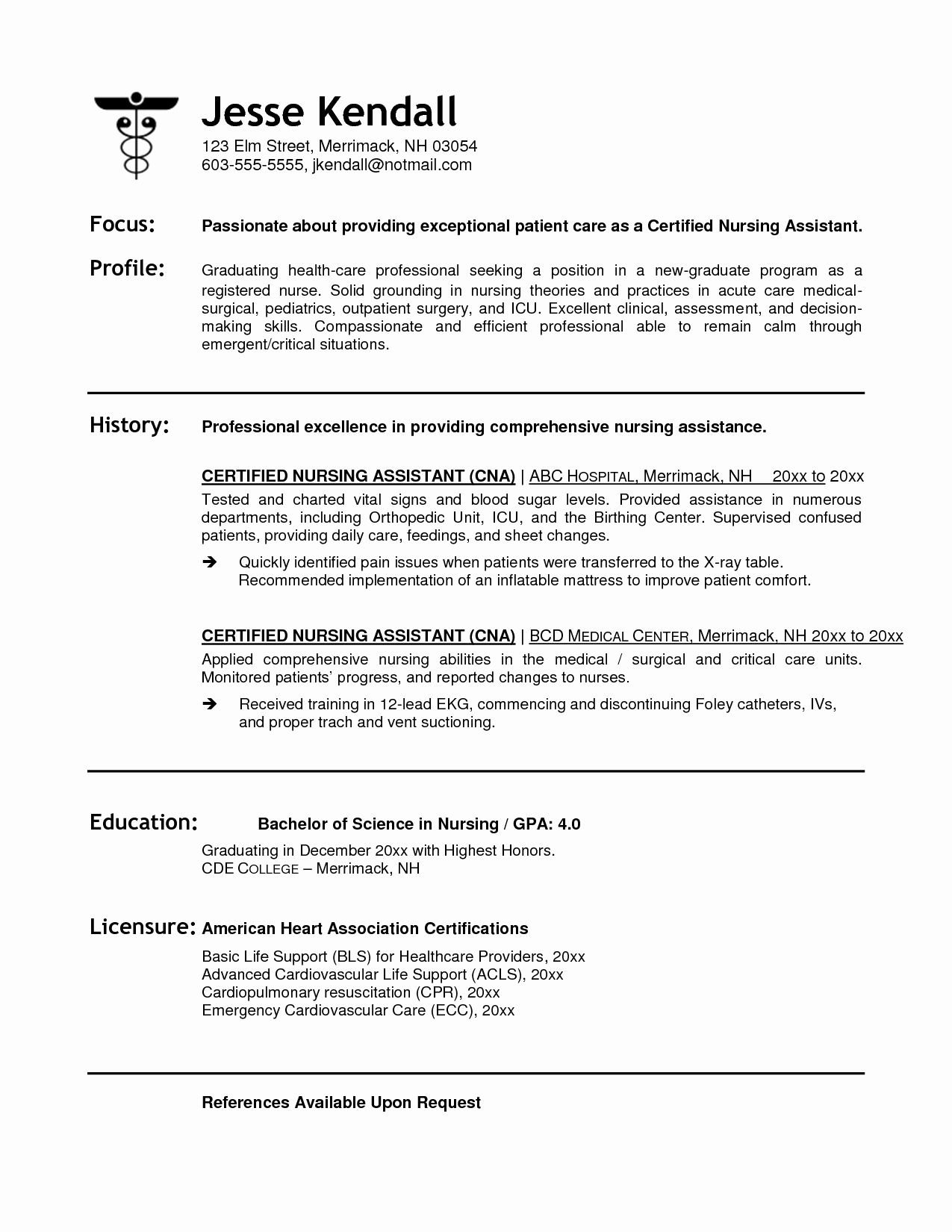 Resumes for Cna Position Best Of Cna Resume Examples