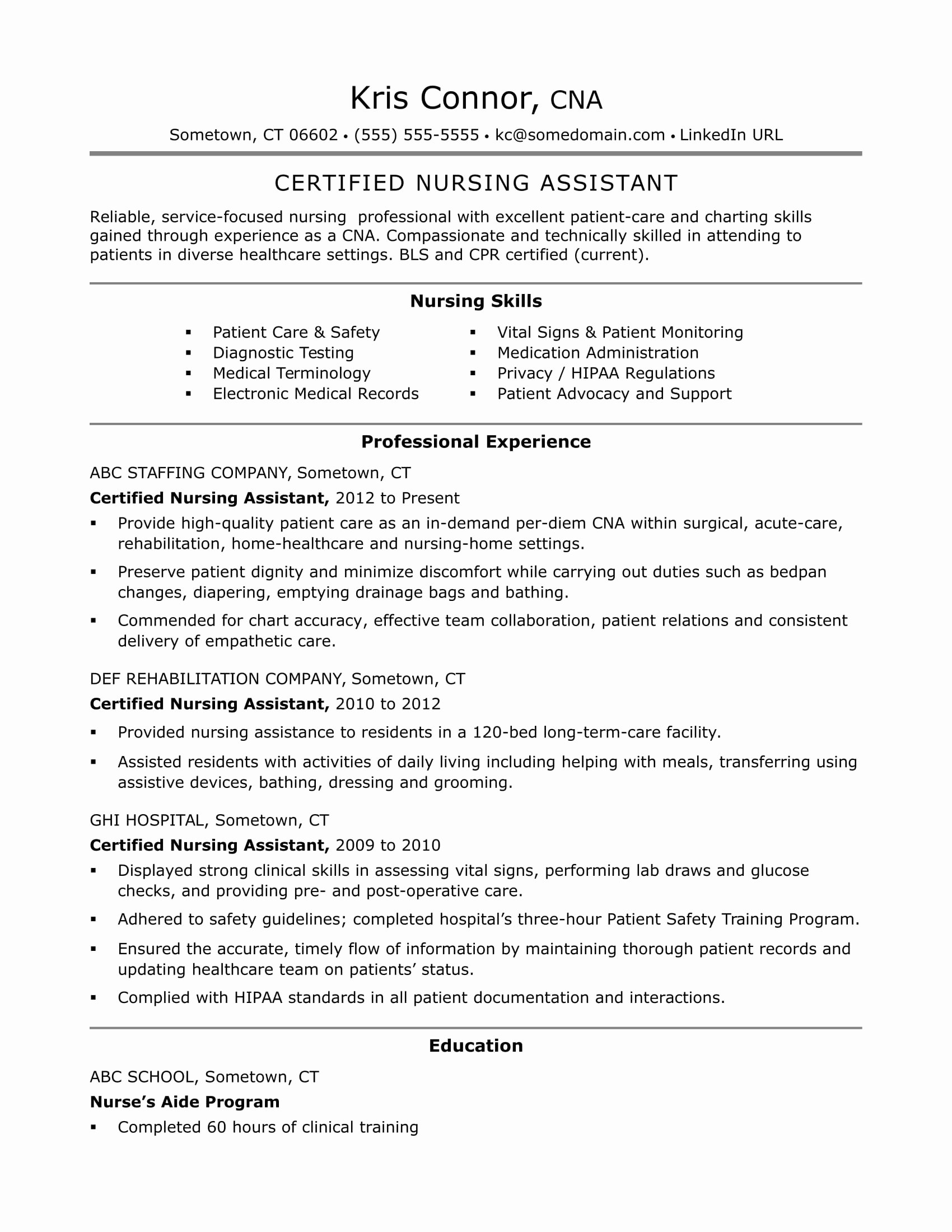 Resumes for Cna Position Elegant Cna Resume Examples Skills for Cnas