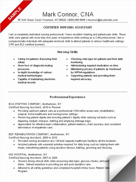 Resumes for Cna Position Elegant Cna Resume Sample Limeresumes