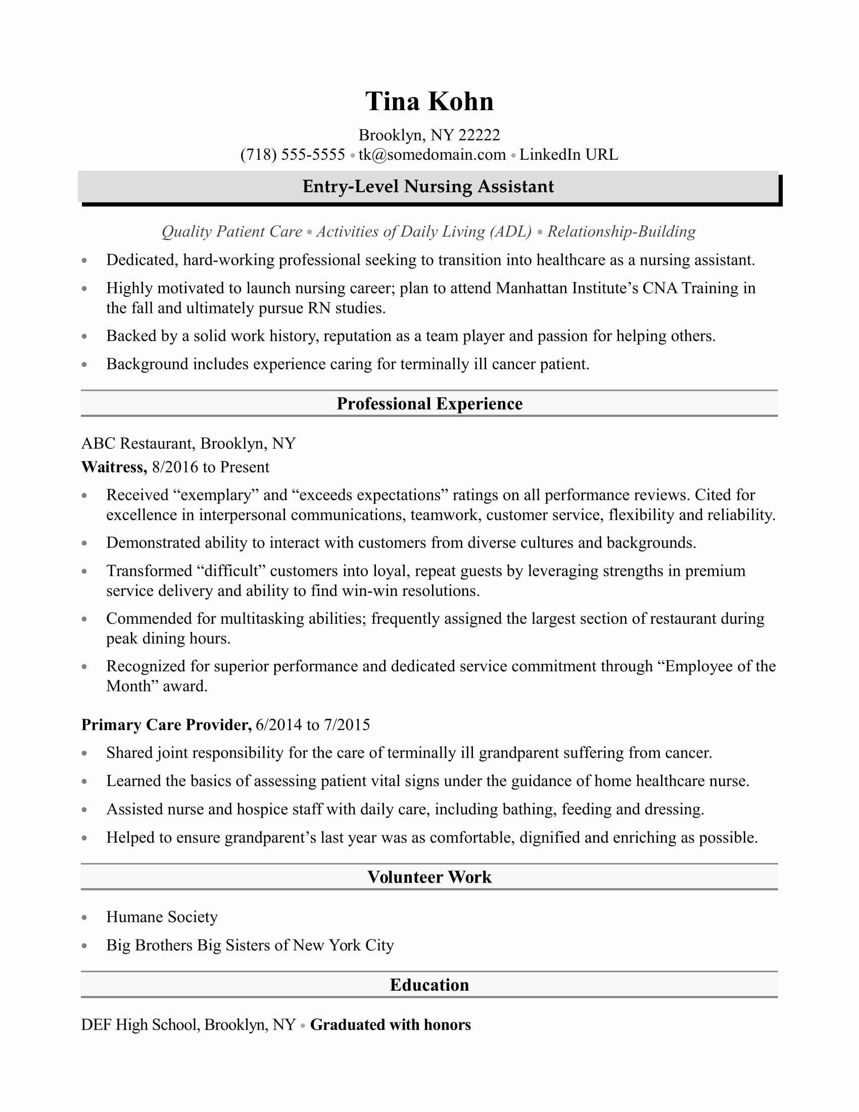 Resumes for Cna Position Elegant Nursing assistant Resume Sample