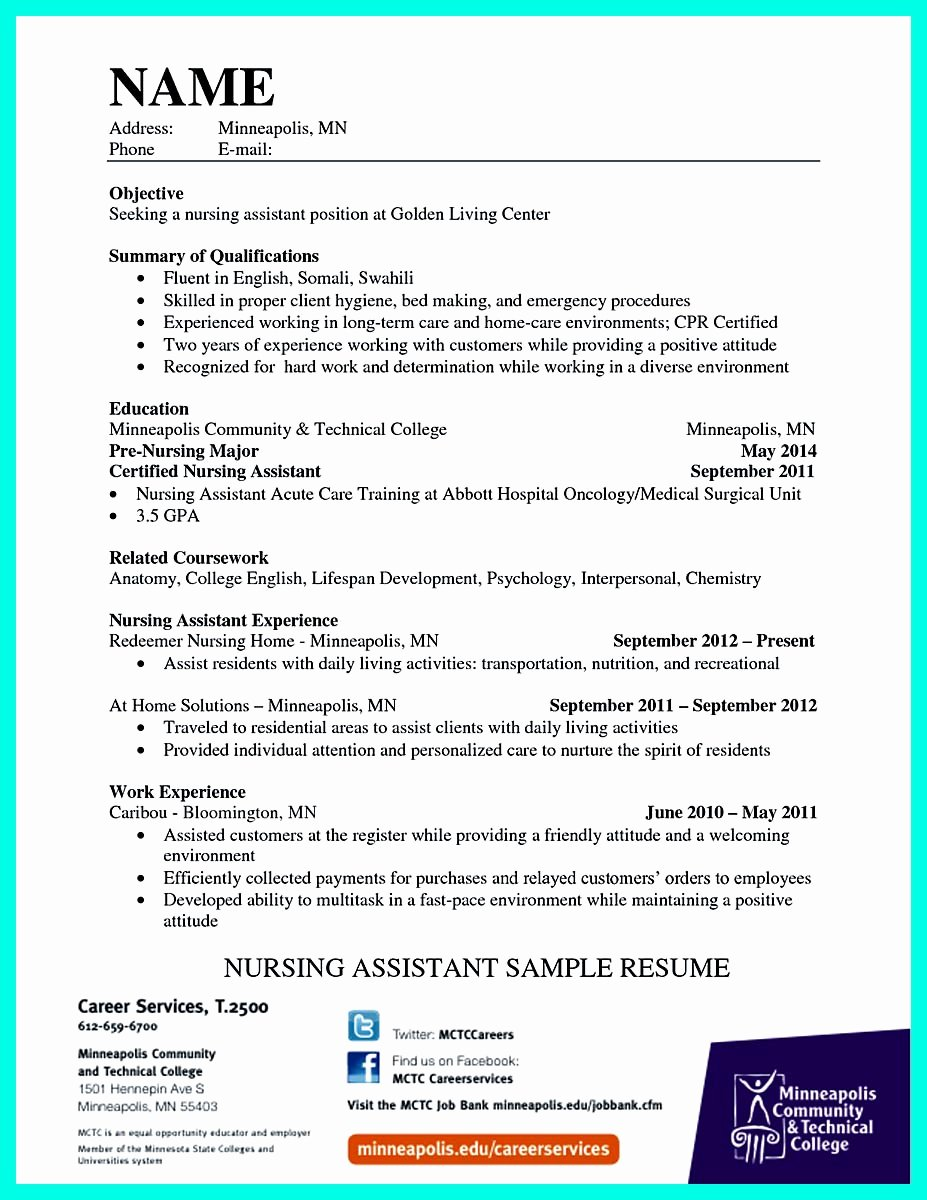 "Resumes for Cna Position Fresh ""mention Great and Convincing Skills"" Said Cna Resume Sample"