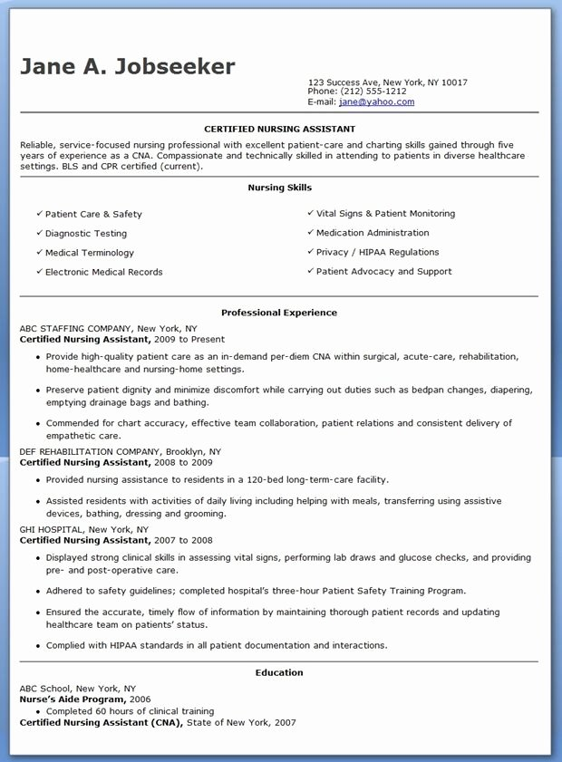 Resumes for Cna Position New Free Sample Certified Nursing assistant Resume