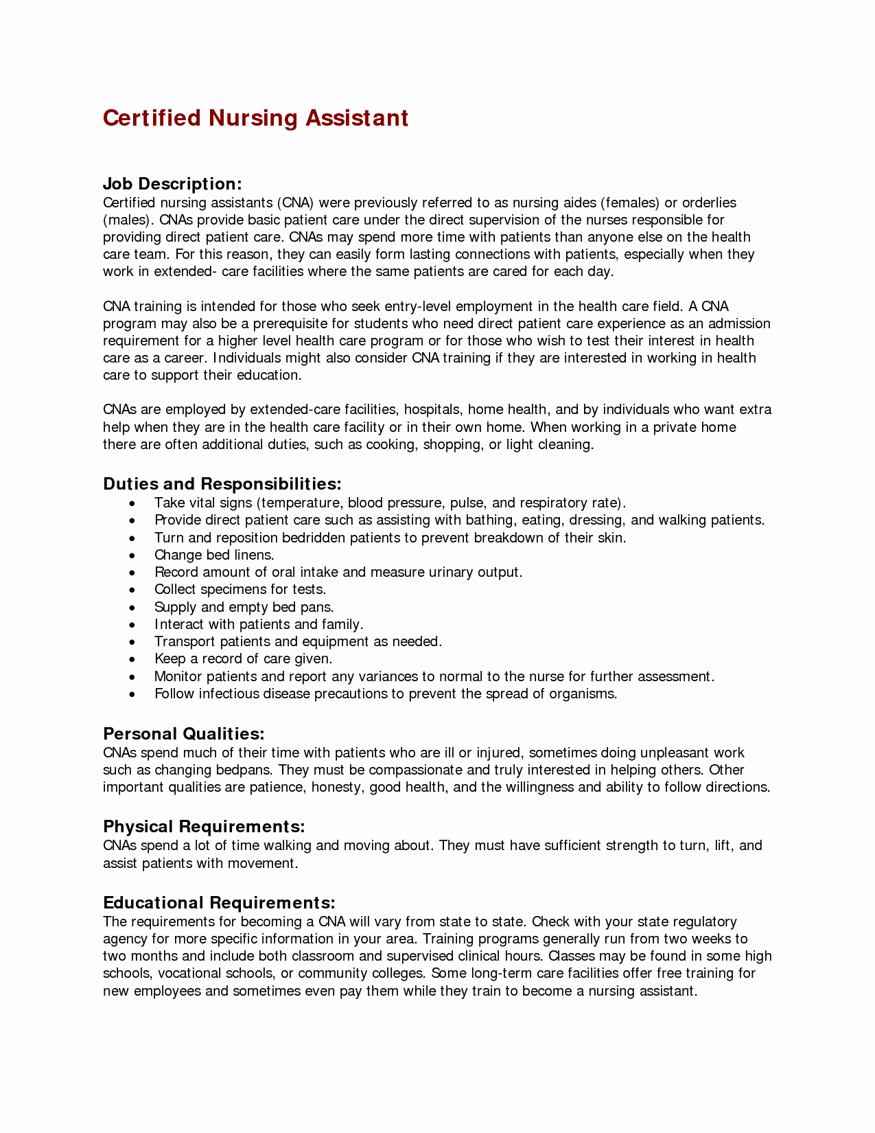 Resumes for Cna Position New Nursing assistant Job Description for Resume Resume Ideas