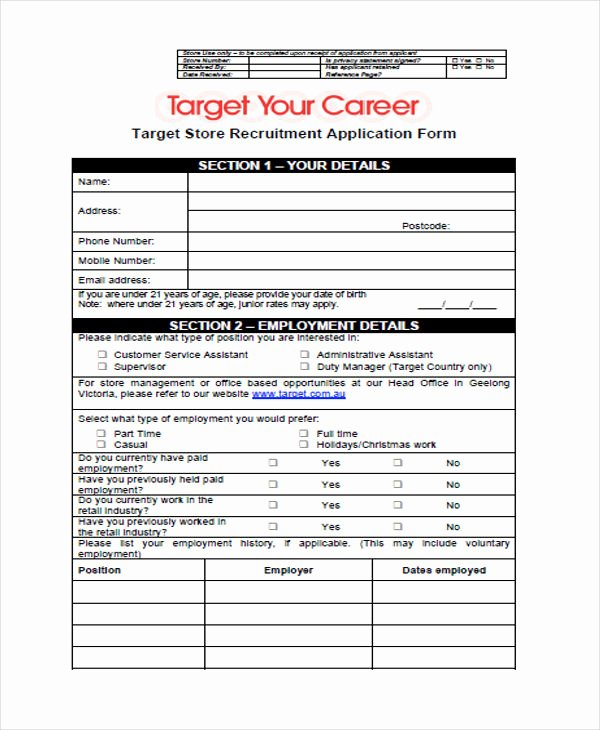 Retail Application form Beautiful 49 Job Application form Templates