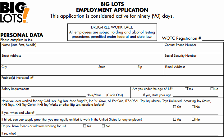 Retail Application form Fresh Big Lots Job Application form Line Apply for A Job at