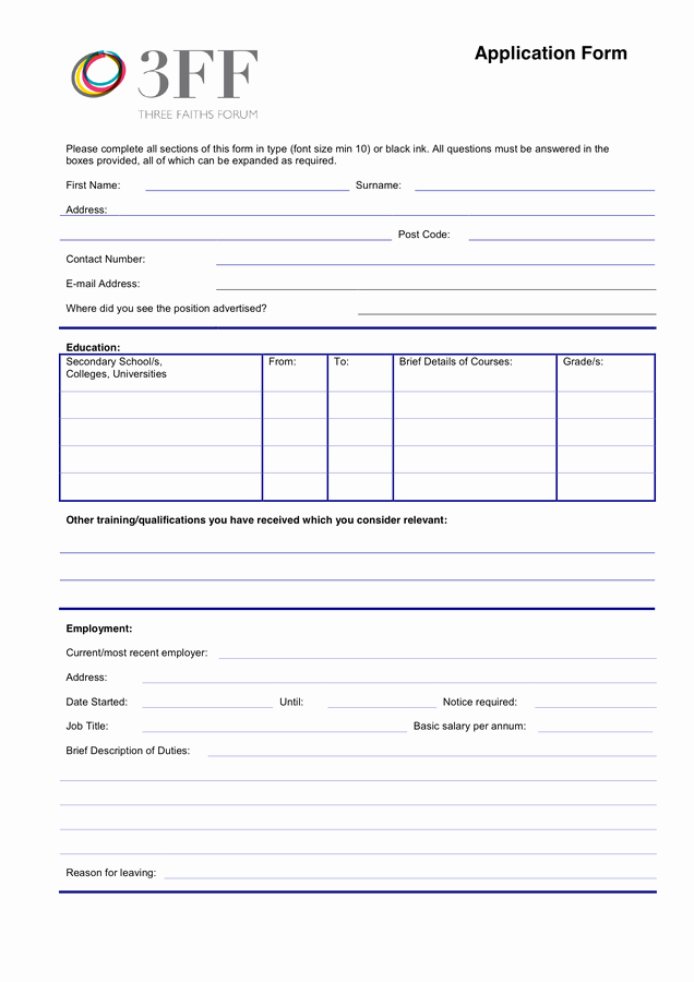 Retail Job Application forms Fresh Job Application form In Word and Pdf formats