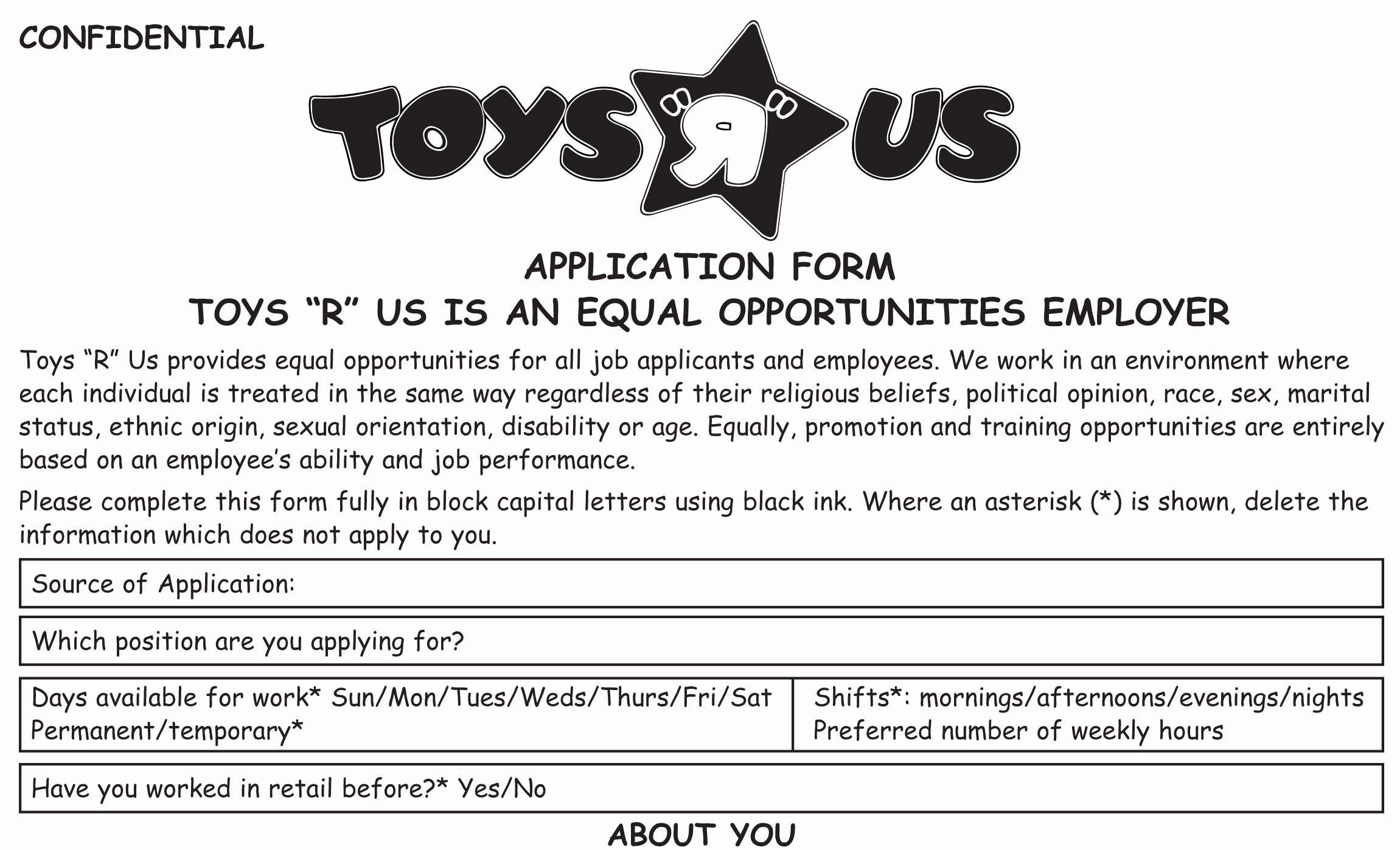 Retail Job Application forms Unique toys R Us Job Application Printable Employment Pdf forms
